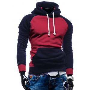 Raglan Sleeve Color Block Kangaroo Pocket Spliced Hoodie -