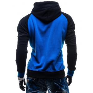 Raglan Sleeve Color Block Kangaroo Pocket Hoodie -