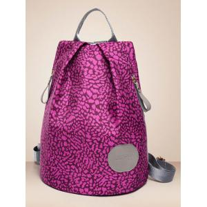 Color Spliced Print Zippers Backpack -
