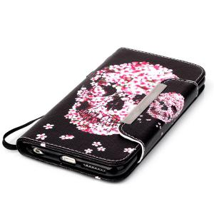 Floral Skull Pattern PU Wallet Card Slot Cover Case For iPhone 6S Plus - RED/BLACK