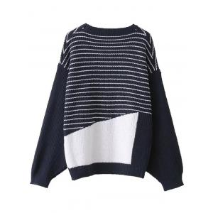 Striped Patchwork Pullover Sweater - PURPLISH BLUE ONE SIZE