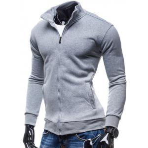 Stand Collar Zip-Up Fleece Jacket -