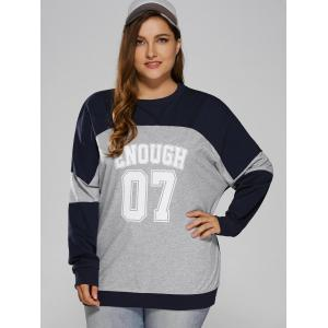 Color Block Plus Size Sweatshirt - BLUE+GRAY 4XL