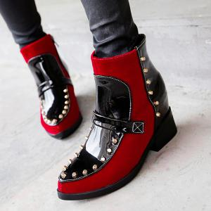 Patent Leather Spliced Flock Rivet Short Boots - RED 39