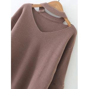 Zipper Design Cut Out Sweater - NUDE PINK ONE SIZE