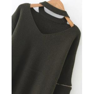 Zipper Design Cut Out Sweater - OLIVE GREEN ONE SIZE