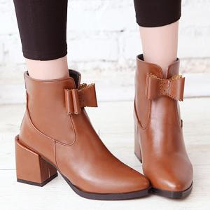 PU Leather Bow Chunky Heel Boots -