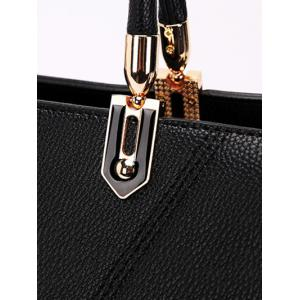Stitching Textured Leather Metal Tote Bag - BLACK