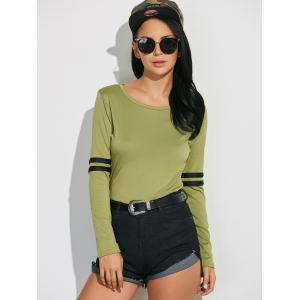 Long Sleeve Cotton Tee With Stripe Insert - GREEN XL