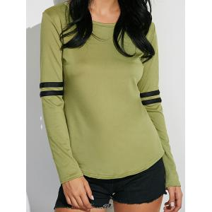 Long Sleeve Cotton Tee With Stripe Insert -
