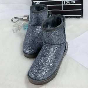 Splicing Sequined Cloth Flat Heel Snow Boots - SILVER 37