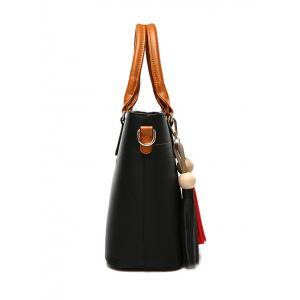 Metal Tassels Colour Spliced Tote Bag -