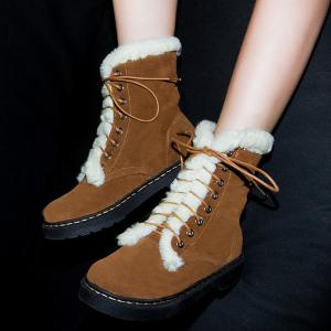 Lace-Up Flat Heel Fuzzy Short Boots -
