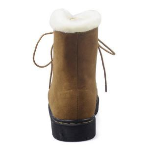 Lace-Up Flat Heel Fuzzy Short Boots - BROWN 37