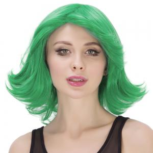Medium Fluffy Side Parting Wavy Tail Upwards Synthetic Lolita Cosplay Wig - CRYSTAL GREEN