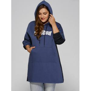 Color Block Plus Size Hooded Sweatshirt Dress - BLUE AND BLACK 4XL