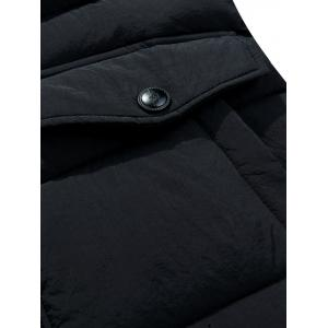 Hooded Pockets Zip-Up Lengthen Padded Coat - BLACK XL