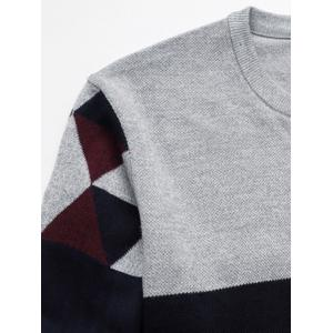 Crew Neck Geometric Color Block Splicing Plus Size Sweater - RED 5XL