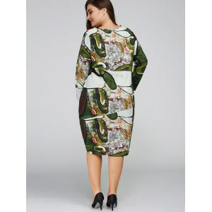 Long Sleeve Plus Size Cocoon Dress - GREEN ONE SIZE
