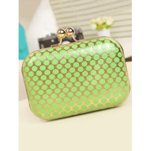 Kiss Lock Polka Dot Metal Evening Bag - GREEN