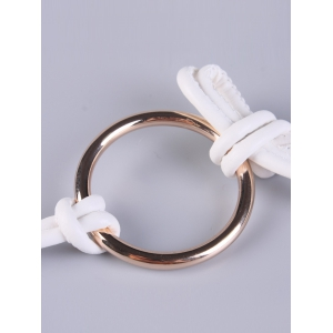 Adjustable PU Leather Skinny Belt with Metal Rings -