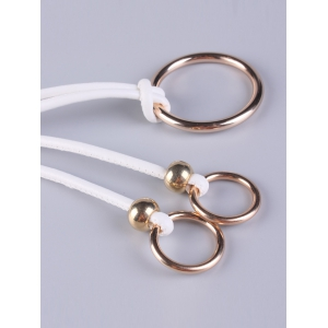 Adjustable PU Leather Skinny Belt with Metal Rings - WHITE