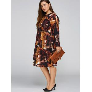 Plus Size Printed Cocoon Dress with Pocket -