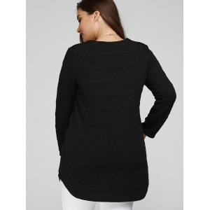 Long Sleeve Plus Size Tunic Top - BLACK 5XL