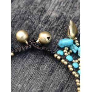Statement Heart Fish Beads Bell Faux Turquoise Bracelet - TURQUOISE
