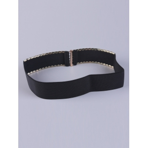 Double Side Disc Stretch Belt with Metal Plate - BLACK