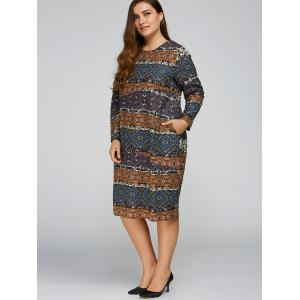 Plus Size Aztec Cocoon Dress with Pocket - DEEP BLUE ONE SIZE