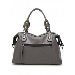 Metal Textured Leather Zipper Tote Bag - DEEP GRAY