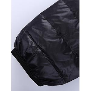 Stand Collar Zip-Up Quilted Jacket - BLACK 3XL
