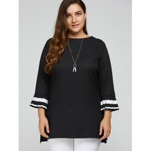 Contrast Pleated Cuffs Plus Size Top -