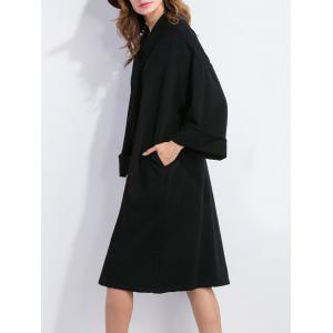 Bow Tie Long Sleeve Shift Dress - BLACK XL