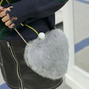 Metal Faux Fur Heart Shape Evening Bag -
