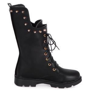 Rivet Eyelet Lace-Up Combat Boots -