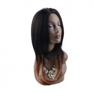 Long Middle Part Ombre Straight Synthetic Wig -
