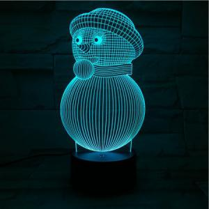 3D Visual Colorful Christmas Atmosphere Snowman LED Night Light -