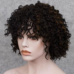 Short Full Bang Curly  Mixed Color Synthetic Wig - COLORMIX