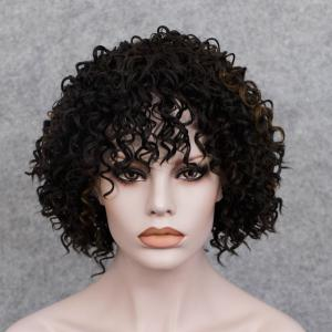 Short Full Bang Curly  Mixed Color Synthetic Wig -