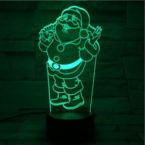 Christmas Santa 3D Visual Colorful Atmosphere LED Night Light -