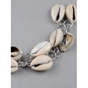 Faux Leather Shell Layered Choker - WHITE
