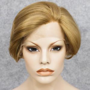 Short Straight Mixed Color Lace Front Synthetic Wig -