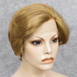 Short Straight Mixed Color Lace Front Synthetic Wig - COLORMIX