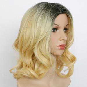 Medium Ombre Side Parting Wavy Synthetic Wig - COLORMIX