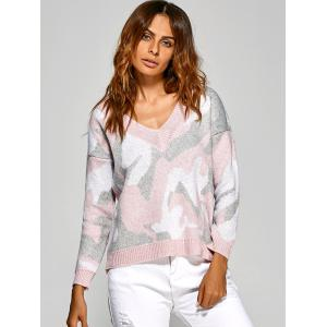 Active V Neck Camouflage Sweater - PINK ONE SIZE