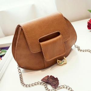 PU Leather Chain Covered Closure Crossbody Bag -