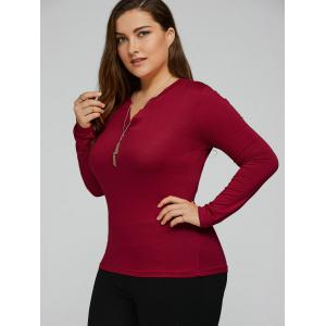 Plus Size Cotton Long Sleeve T-Shirt - WINE RED 5XL