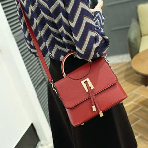 Magnetic Closure Metal Textured Leather Tote Bag - DEEP RED